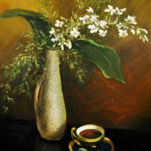 """V.Peil Lilled vaasis ja kohvitass""""MÜÜDUD"""""""