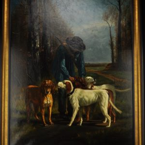 Oil Painting Hunter with Dogs