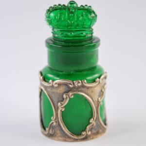 19th century, green glass perfume bottle, sterling silver