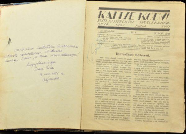 """Ajakirja """"Kaitse kodu """"II aastakäik 1926a MÜÜDUD"""