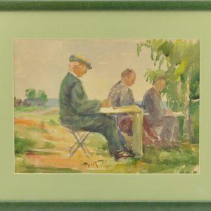 """Akvarell Karl Burman senior maalimas"""" 1960a"""" BRONEERITUD"""