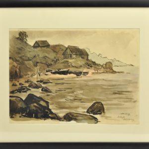 """Alex Kütt watercolor """"Kallaste"""" in 1957y"""