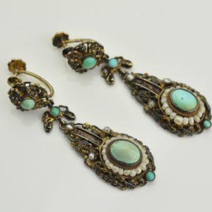 Antiiiksed kõrvarõngad, kullatud hõbe 813, türkiisid