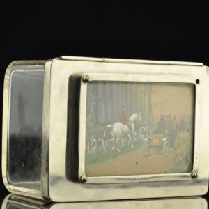 Antique glass cigar box, hand paiting