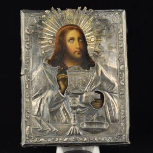 Antiikne 19.saj. Vene ikoon 84 hõbe kattega 13390 JA