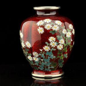 Antique Japanese vase, cloisonne enemal, hand painting SOLD