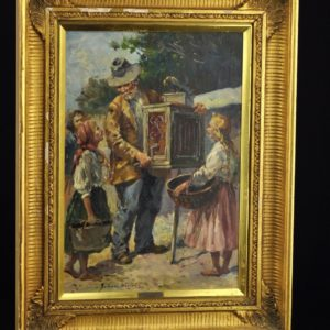 Antique Polish oil painting - Juliusz Julius STABIACK (XIX-XX) - man & music box SOLD