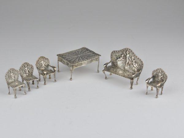 Antique dollhouse furniture, silver 950