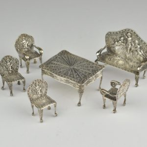Antique dollhouse furniture, silver 950