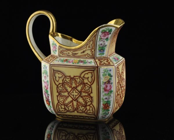 Antique XIXth French gilt porcelain jug, hand painting