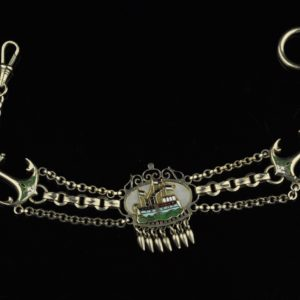 Antique French chain, silver, enamel