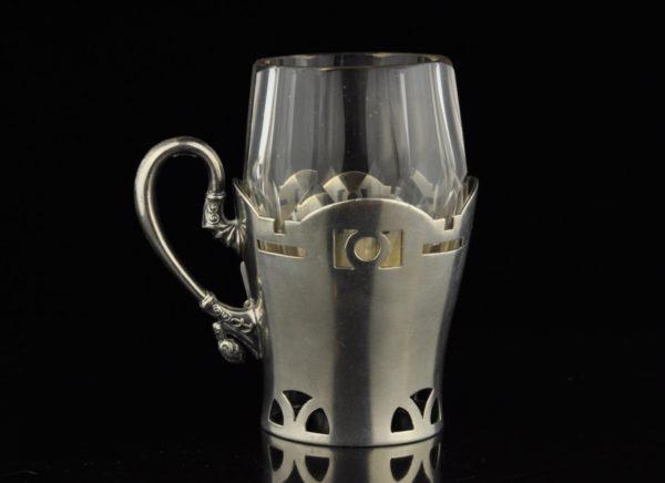 Antiikne Tsaari-Vene hõbe 84 klaasi hoidja klaasiga