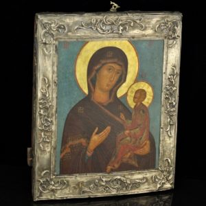 Antique Imperial-Russian icon Virgin Mary, 84 silver rim