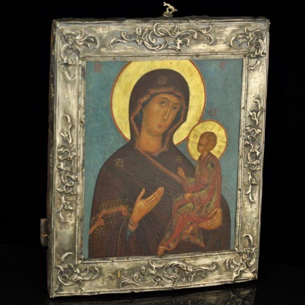 Antiikne Tsaari-Vene ikoon Jumalaema, 84 hõbe raam