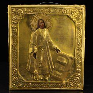 Antiikne Tsaari-Vene ikoon, metall kate