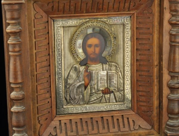Antiikne Tsaari-Vene ikoon,kastis, kate 84 hõbe