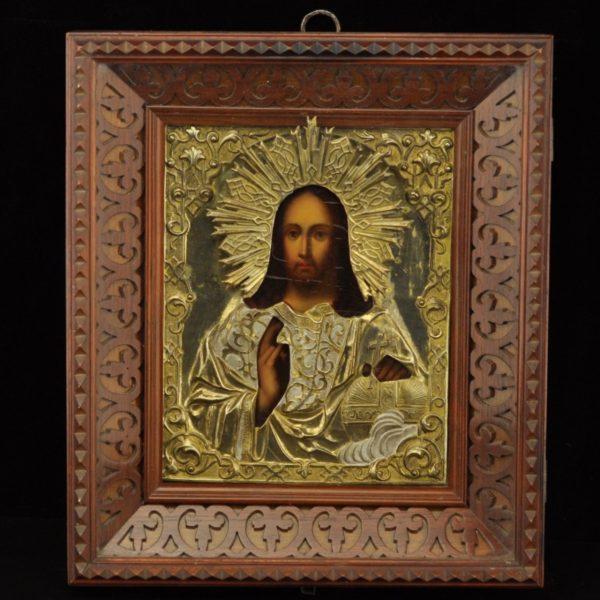 Antiikne Tsaari-Vene ikoon,kastis, metall kate