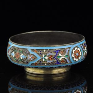 Antique Imperial Russian 84 silver bowl, cloisonne enemal SOLD