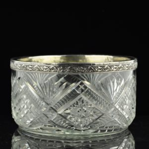 Antique Imperial Russian bowl, crystal, 84 silver rim
