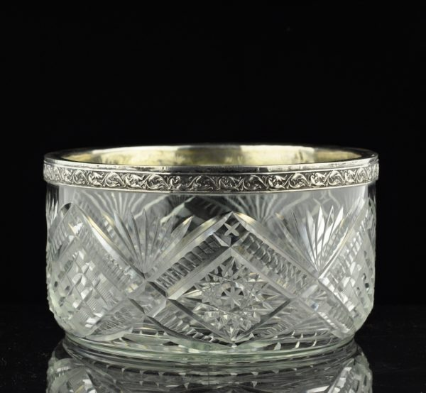 Antiikne Tsaari-Vene kristallkauss, 84 hõbe äär