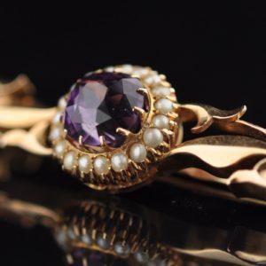 Antiikne Tsaari-Vene kuld 56 pross, ametüst ja pärlid