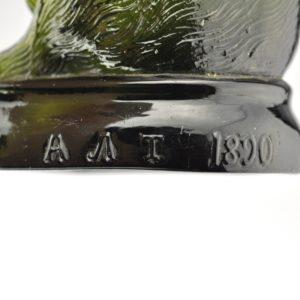 Antiikne Tsaari-Vene pudel - Karu, roheline klaas, 1890 BRONEERITUD