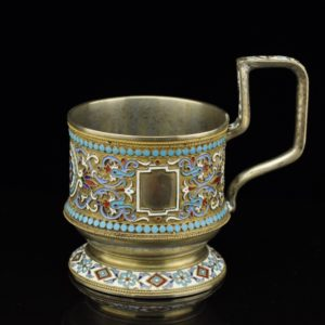 Antique Imperial Russian tea glass holder, enamel, 84 silver SOLD