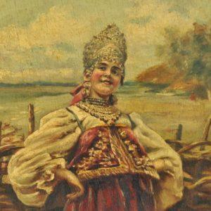 Antiikne Vene papjee-mashjee seinataldrik, käsimaal MÜÜDUD