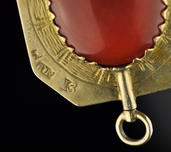 Antiikne XIX saj. kella võti, hõbe 13L, kullatud, ahhaat