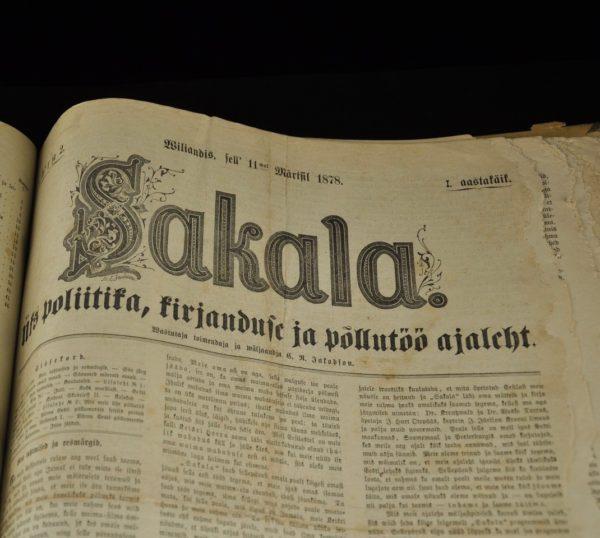 """Antiikne ajaleht """"Sakala"""" esimene aastakäik 1878a"""