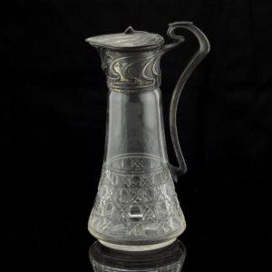 Antiikne karahvin - klaas, metall