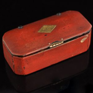 Antique box, wood, gold