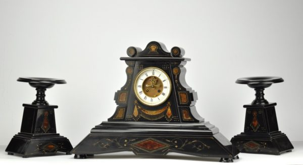 Antique stone table clock and 2 bases