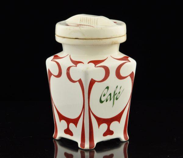 Antiikne kohvipurk - käsimaal, juugend