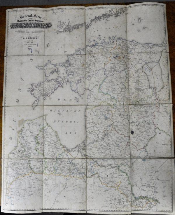 """Antiikne maakaart """"LIV.EHST und KURLAND"""" Reval 1846a"""