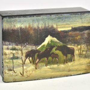 Antique box lacquer papier mache