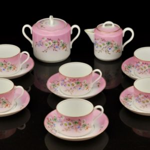 antique Porcelain Pink Service in the 20th Century, 17 pc