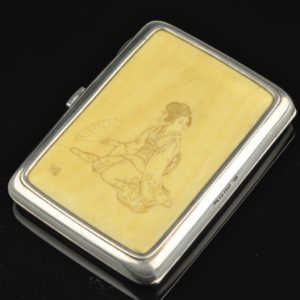 Antique cigarette case ivory, silver - Tillander 1917