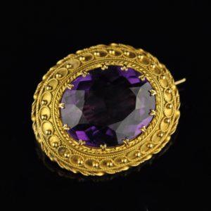 Antiikne pross ametüst, kuld 750 ja 583 MÜÜDUD