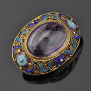Antique brooch, silver, enamel