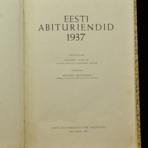 Antique book - Estonian Graduates 1937