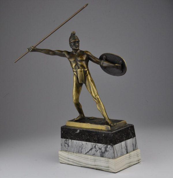 Antiikne sõdalase figuur, pronks, marmor - W.Völz
