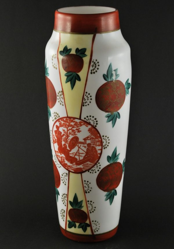 Antique white glass vase with handpainting