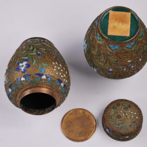 Pair of Asian Antique Enamel covered tea jars