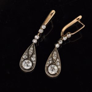 Antique Imperial-Russian earrings, 56 gold, diamonds SOLD