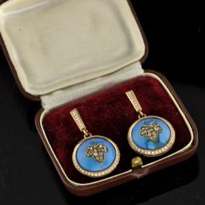 Antique Imperial-Russian earrings - gold, enamel, diamonds