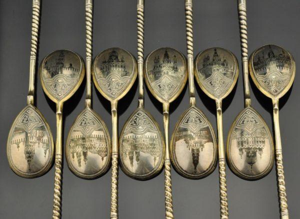 Antiiksed Tsaari-Vene lusikad 12 tk. hõbe 84, niello