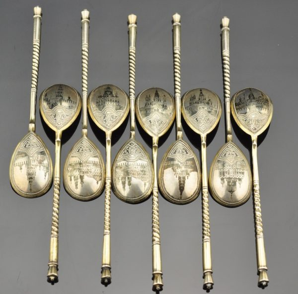 Antique Imperial Russian spoons 12psc silver 84