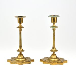 Antique Tsarist-Russian Bronze Candle Holders 2 pc
