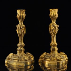 Antique bronze candlesticks 2pieces, XIX s